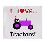 I Love Purple Tractors Throw Blanket