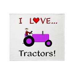 I Love Purple Tractors Throw Blanket