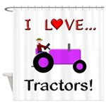 I Love Purple Tractors Shower Curtain