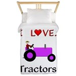 I Love Purple Tractors Twin Duvet