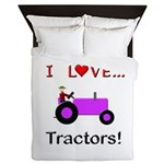 I Love Purple Tractors Queen Duvet
