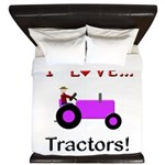 I Love Purple Tractors King Duvet