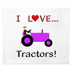 I Love Purple Tractors King Duvet