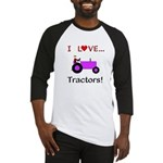 I Love Purple Tractors Baseball Jersey