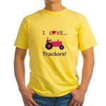 I Love Purple Tractors Yellow T-Shirt