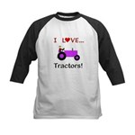 I Love Purple Tractors Kids Baseball Jersey