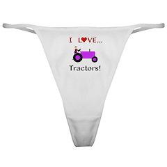 I Love Purple Tractors Classic Thong