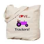 I Love Purple Tractors Tote Bag