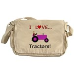 I Love Purple Tractors Messenger Bag