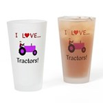 I Love Purple Tractors Drinking Glass