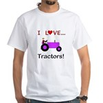 I Love Purple Tractors White T-Shirt