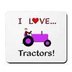 I Love Purple Tractors Mousepad