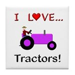 I Love Purple Tractors Tile Coaster
