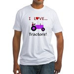 I Love Purple Tractors Fitted T-Shirt