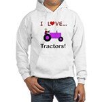I Love Purple Tractors Hooded Sweatshirt