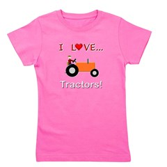 I Love Orange Tractors Girl's Tee