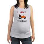 I Love Orange Tractors Maternity Tank Top