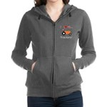 I Love Orange Tractors Zip Hoodie