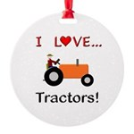 I Love Orange Tractors Round Ornament
