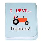 I Love Orange Tractors baby blanket