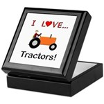 I Love Orange Tractors Keepsake Box