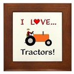 I Love Orange Tractors Framed Tile