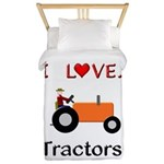 I Love Orange Tractors Twin Duvet