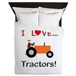 I Love Orange Tractors Queen Duvet