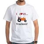 I Love Orange Tractors White T-Shirt