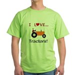 I Love Orange Tractors Green T-Shirt