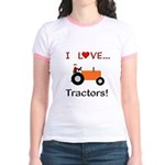 I Love Orange Tractors Jr. Ringer T-Shirt