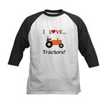 I Love Orange Tractors Kids Baseball Jersey