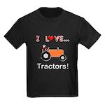 I Love Orange Tractors Kids Dark T-Shirt