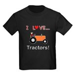 I Love Orange Tractors Kids Dark T-Shirt