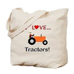 I Love Orange Tractors Tote Bag