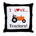 I Love Orange Tractors Throw Pillow