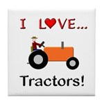 I Love Orange Tractors Tile Coaster