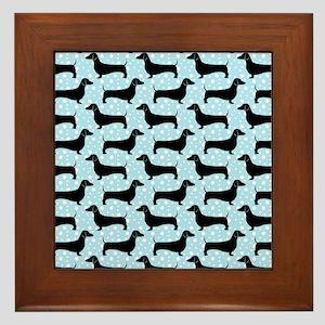 Baby Blue Polka Dachshunds Framed Tile