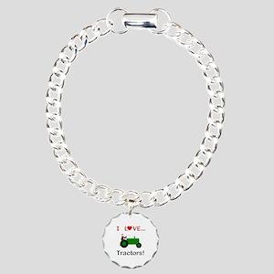 I Love Green Tractors Charm Bracelet, One Charm