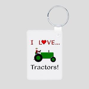 I Love Green Tractors Aluminum Photo Keychain