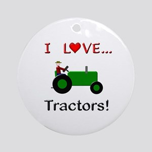 I Love Green Tractors Ornament (Round)