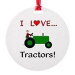 I Love Green Tractors Round Ornament
