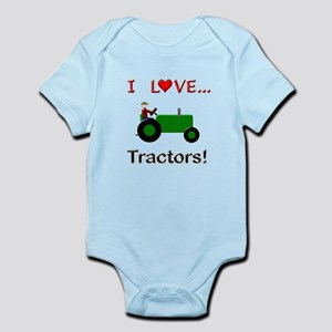 I Love Green Tractors Infant Bodysuit
