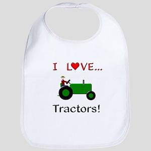 I Love Green Tractors Bib