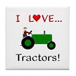 I Love Green Tractors Tile Coaster