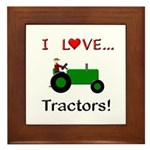 I Love Green Tractors Framed Tile