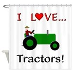 I Love Green Tractors Shower Curtain