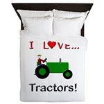 I Love Green Tractors Queen Duvet