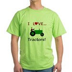 I Love Green Tractors Green T-Shirt