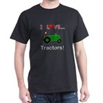 I Love Green Tractors Dark T-Shirt